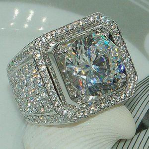NEW Mens 925 Silver Round Diamond Halo Ring